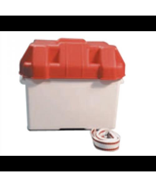 Batteribox i syrafast plast. Med lock och fastsättningsrem. 270 x 190 x 270 mm..